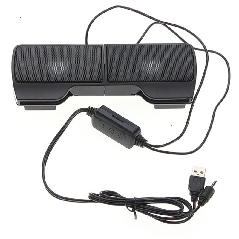 PLEXTONE 1 Pair Mini Portable Clipon USB Stereo Speakers line Controller Soundbar for Laptop Mp3 Phone Music Player PC with Clip