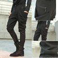 European Casual Black Side Big Pocket Skinny Trousers personality Dance mens harem Hip hop Slim Pencil pants