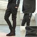 Lado negro de bolsillo grande ocasional europeo flaco pantalones de la danza de la personalidad para hombre harem hip hop pantalones lápiz delgado