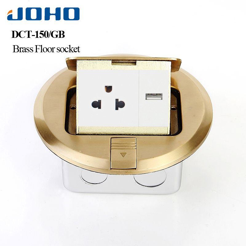JOHO Pop Socket Brass Round Type Pop Round Residential/General-Purpose Power Socket With Rj45 Socket 15A US Outlet brass slow pop up floor socket box with 15a 125v us socket rj45 computer data