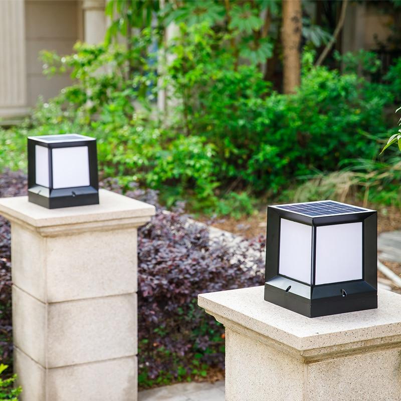 Us 106 36 Solar Post Caps Modern Pillar Lights Outdoor Column Lamp Casting Aluminum Wireless Waterproof Dual Color Led Stigma In