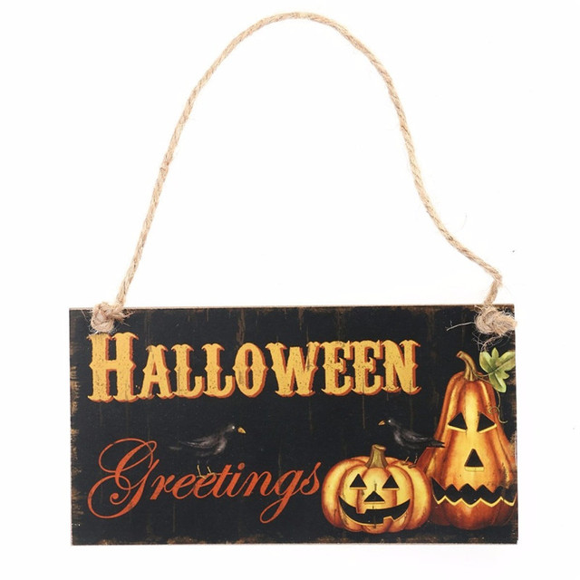 Wooden Halloween Hanging Ornament Wooden Plaque Wall Sign Haing Board Halloween Party Favor Gifts Party Decoration