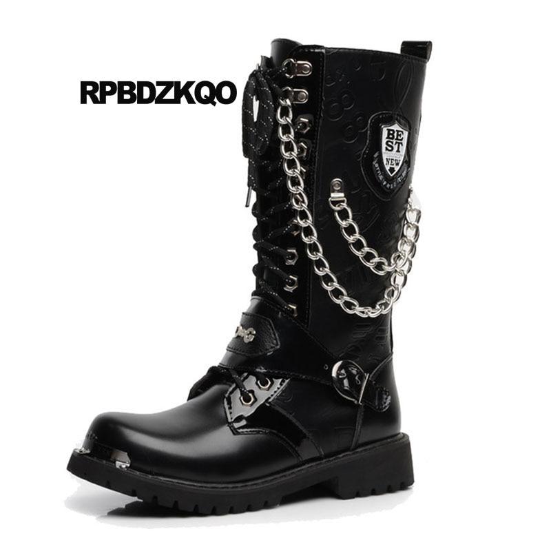 Black Chunky Combat Fur Vintage Motorcycle Boots Punk Fashion Military Plus Size Men Embellished Waterproof Shoes Winter Metalic