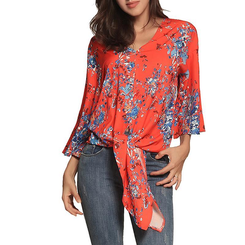 2018 Sommer Frauen Neue Europa Die Vereinigten Staaten Neue Digitale Druck Große Größe Straps Chiffon Hemd Weibliche