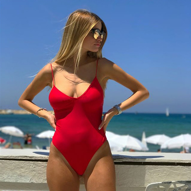 Backless Thong 2019 Sexy Women One Piece Swimsuit Bathing Suits Swimwear Female Beachwear Monokini