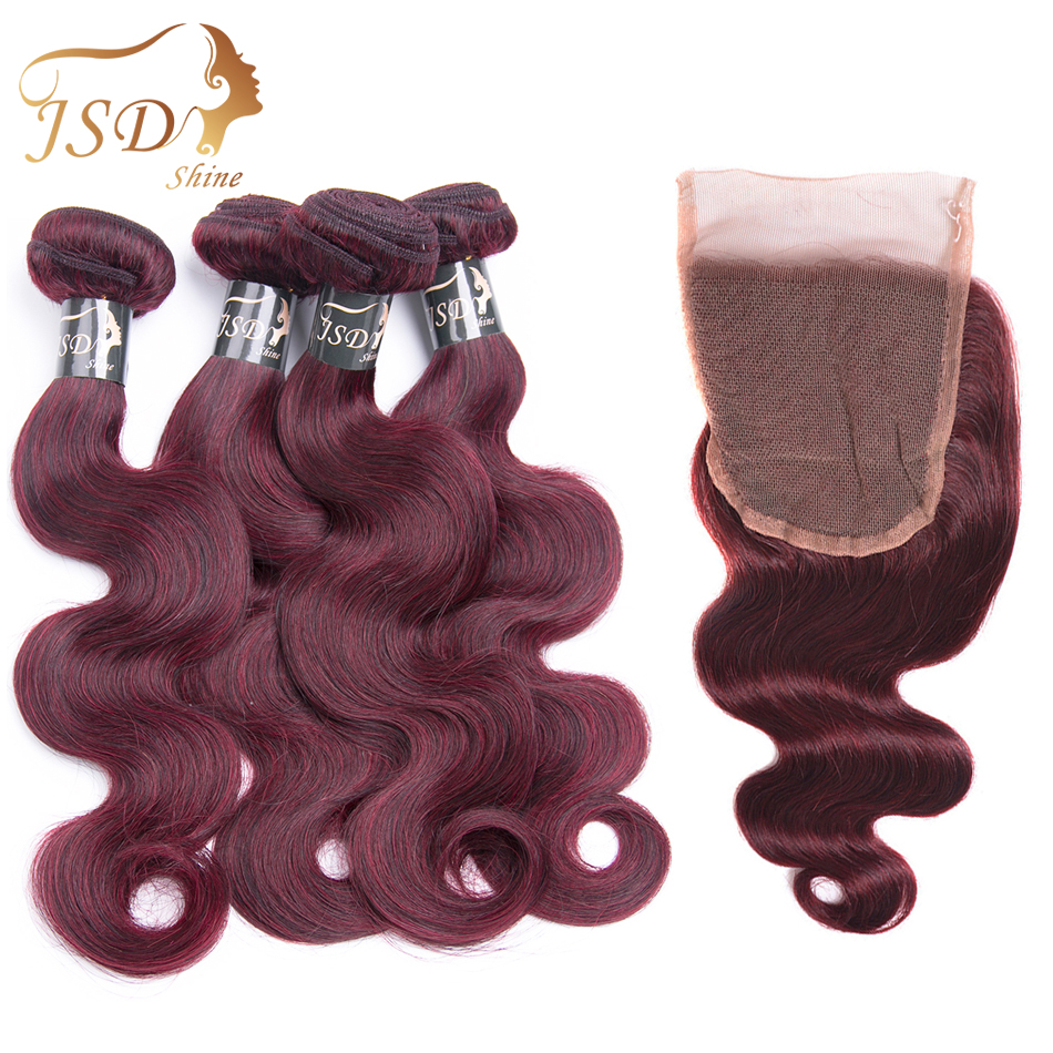 JSDShine Pre-Colored Indian Body Wave Human Hair 4 Bundles With Lace Closure 99J 4*4 Non-Remy Human Hair Unprocessed No Shedding