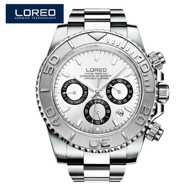 LOREO Mens Watches Automatic Watch font b Men b font Full Stainless Steel Wrist watch font