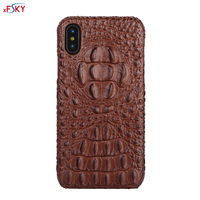 XFSKY Real Genuine Leather Case For IPhone X Cell Phone Luxury Leather 3D Crocodile Head Skin