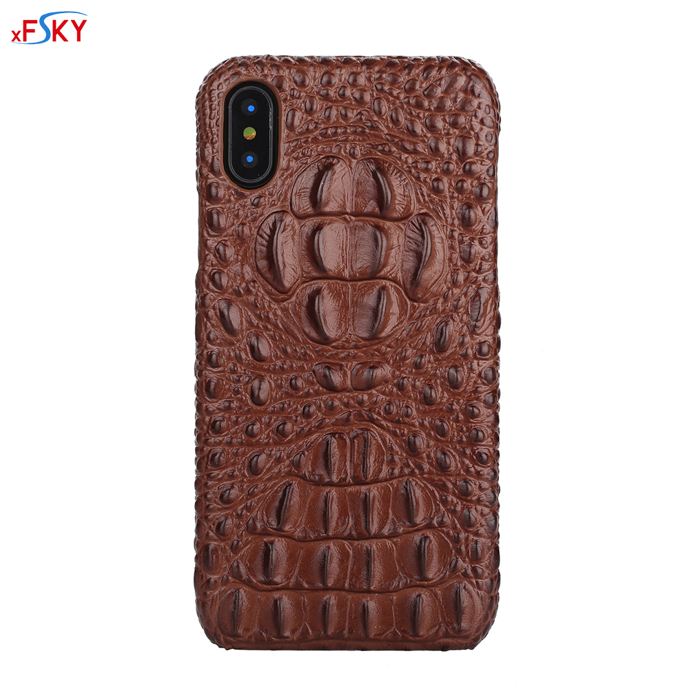 xFSKY Real Genuine Leather Case For iPhone X Cell Phone Luxury Leather 3D Crocodile Head Skin Pattern Cover Cases for iPhoneX