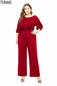 TUHAO 2019 Overalls Plus Size Women Jumpsuits Fashion Office Lady Elegant Bodysuits Rompers OL High Waist Summer Jumpsuit LMTL