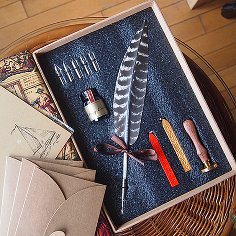 New Nature Feather Calligraphy Handwriting Dip Pen Set with 2 Wax Seals 1 Stamper 1 Ink 5 Nibs nature explorer box set