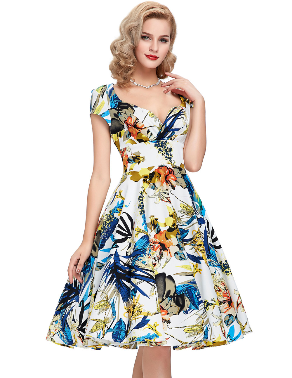 50s Vintage Dresses 2016 New Style Summer Dress Audrey Hepburn Vestidos Cap Sleeve Fl Printed Robe De Femininos In From Women S
