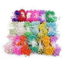 1 Bundle = (500PCS) fiore artificiale Teste Doppie Stame Pearlized Mestiere Carte Torte Decorazione Floreale per la casa della festa nuziale della decorazione