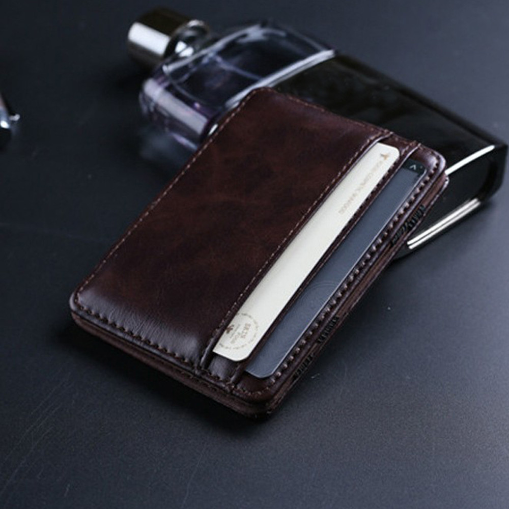 Leather Wallet Men ID Credit Card Holder Male Small Wallet Coin Purses Card Holders men wallets Thin Male Wallet Card Holder hot ultra thin colorfulcascading pull out card holder wallet
