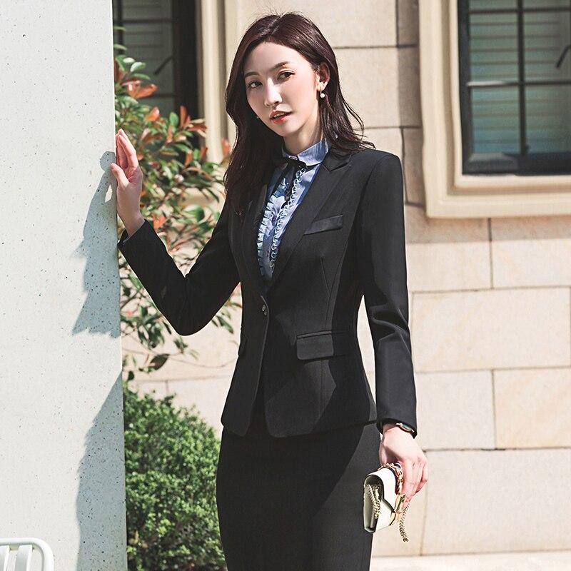 Pantalon Femmes Couleur Jacket Formelle 910 D'affaires Shirt Costume black Skirt Set Gray Solide black gray Veste Acrmrac Costumes Ol Mince Pants Set Pants Skirt SdqFS0p