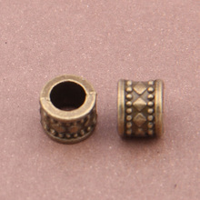 50pcs/lot 6mm Tibetan Silver Bronze Charm Beads for Jewelry Vintage Metal Big Hole Beads fit Bracelet Necklace Jewelry Making 50pcs tibetan silver cute roller skate ditsy charm necklace sp chain xa18