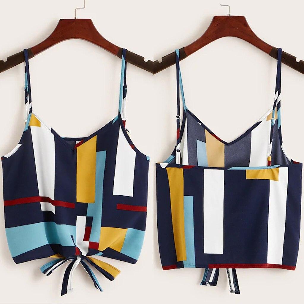 Tied Camisetas Splice-Color Test-Womenclothes40 Round-Neck Sexy Fashion Summer Verano