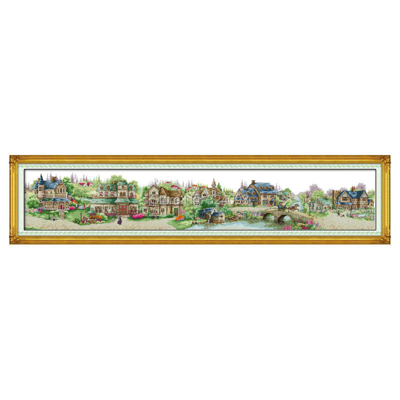 Wholesale Needlework,Stitch,11CT 14CT Cross Stitch,Sets For Embroidery Kits,European Town Counted Cross-Stitching