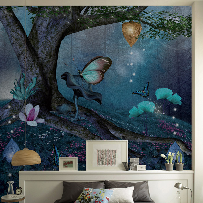 Free Shipping night jungle wallpaper mural living room TV background cafe entrance modern personality 3D mural  free shipping chinese ink classical retro wallpaper mural living room tv room wallpaper