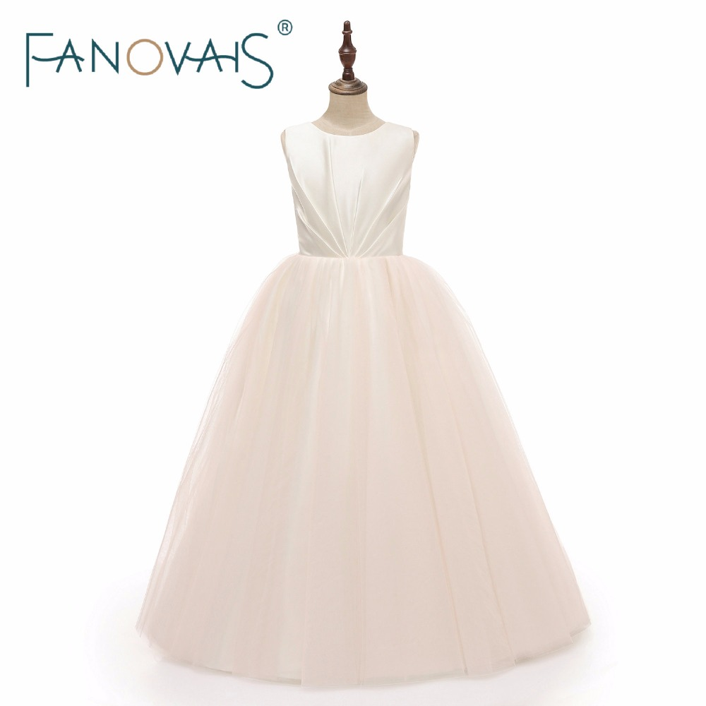 Light Champagne Flower Girl Dresses Simple Girl Dresses for Wedding meninas vestido robe pour fille mariage