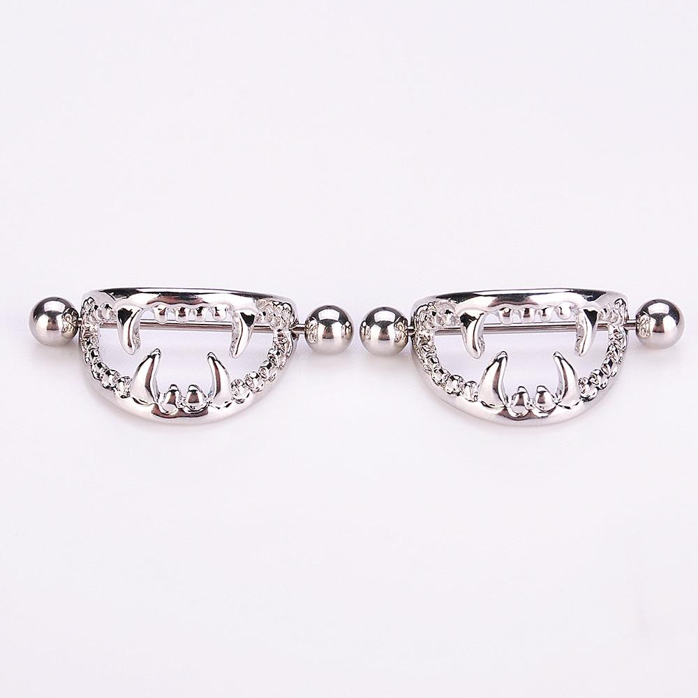 2PCS Women Stainless Steel Crystal Shields Bars Nipple Piercing Body JewelES