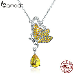 Image 1 - BAMOER New Trendy 100% 925 Sterling Silver Sparkling Dancing Butterfly Pendant Necklaces Women Sterling Silver Jewelry SCN241