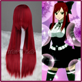 Free Shipping 80cm Synthetic Long Straight Fairy Tail Erza Scarlet Dark Red Cosplay Anime Wig + wig cap