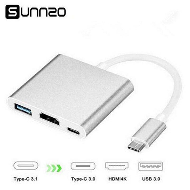 Tipo C para HDMI Adaptador USB-C Para HDMI + USB 3.0 + USB-C Porto De Carregamento Conversor Multiport Hub 4 K 2 K Para Macbook Dell Chromebook XPS13