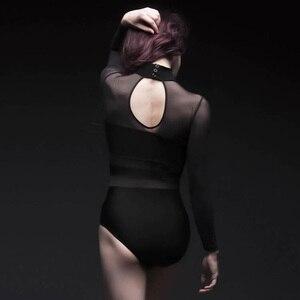 Image 4 - Erwachsene Ballett Tanz Trikot Zurück Hohl Gaze Spandex Splice Dancewear Aerial Yoga High Neck Eng Yoga Kleidung Damen Ballerina