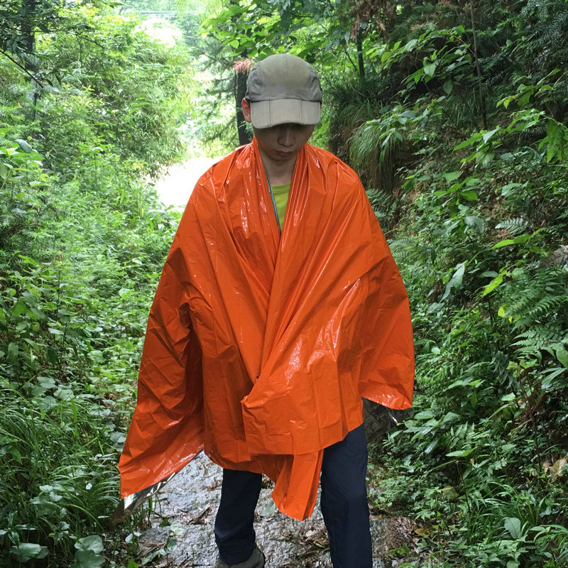 Emergency Thermal Blanket Orange SOS Foldable Military Survival Outdoor Sunscreen Rescue Reflective Blanket First Aid Supplies