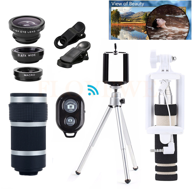 2017 Universal Clips 8X Zoom Telephoto Lentes Telescope Wide Angle Macro Fisheye Lenses With Tripod Monopod For Cell Phone lens