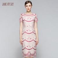 Jane Story New Design 2017 Summer Lace Dress Beautiful O Neck Floral Print Office Dress Vestido