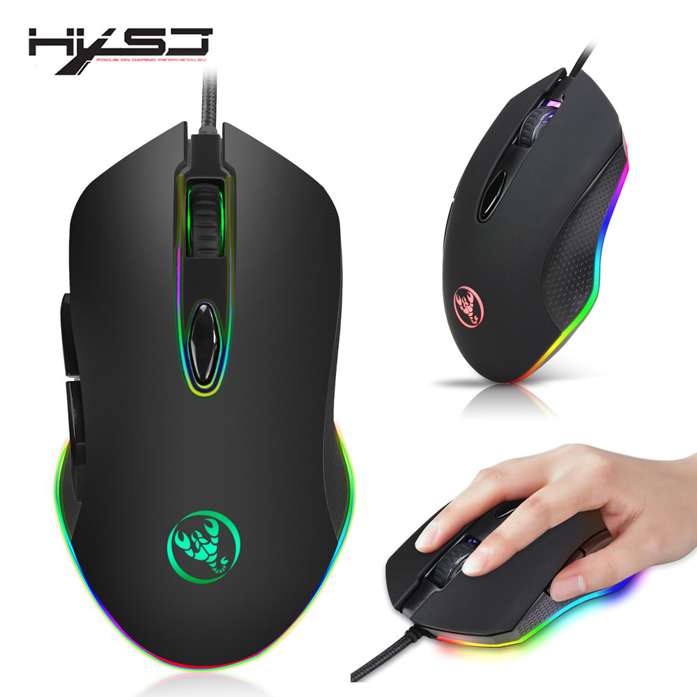HXSJ Programmable Gaming Mouse 4800DPI 6 Buttons RGB Backlit USB Wired Optical Mouse Gamer for font