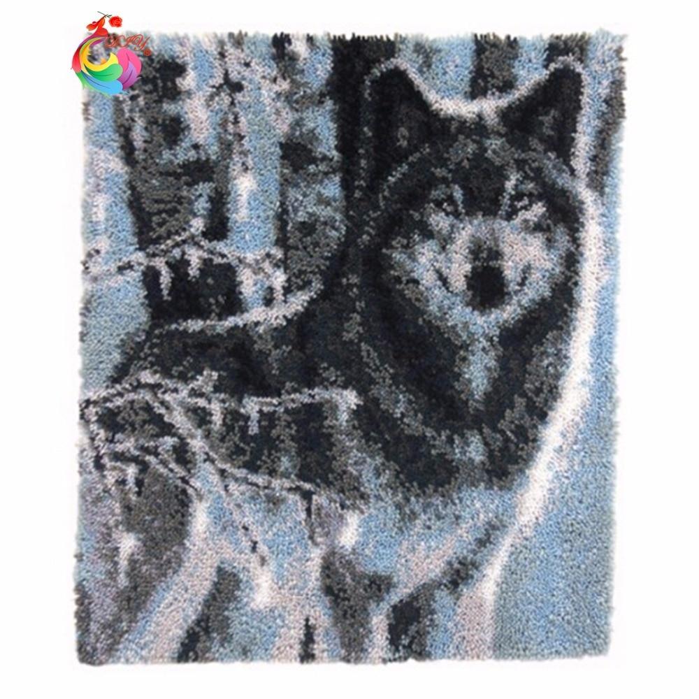 Unfinished Crocheting Rug Yarn Cushion Embroidery Carpet Cartoon Bear DIY Mat Needlework Kit Latch Hook Rug