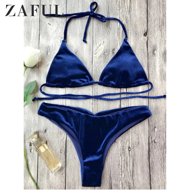 9aad01cbc7 ZAFUL Women New Velvet High Cut Bathing Suit Sexy Low Waisted Solid Color  Halter String Bikini