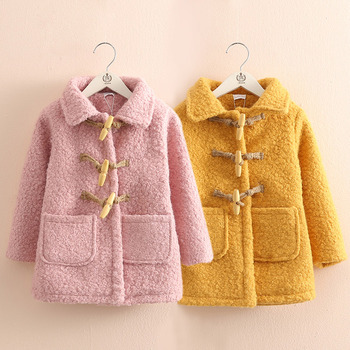 Baby Girl Outwear Coat 2019 Winter 3-11 12 Years Teenager Turn-down Collar Thickening Medium Long Kids Girls Button Blends Coat