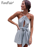 Forefair Sexy Jumpsuit Romper Womens Backless Halter Playsuits Grey Casual Lace Up Waist Woven Overalls Combinaison