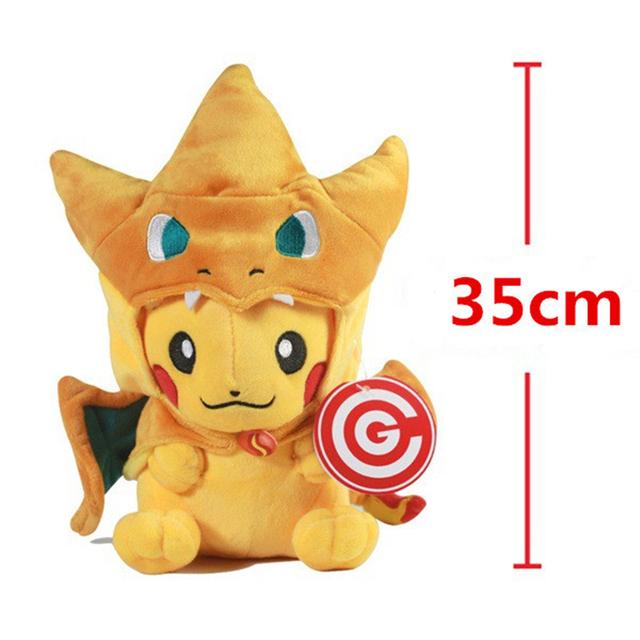 35cm Pocket Monster GO Plush Toy Peluche Pikachu Cosplay Charizard Stuffed Plush Cartoon
