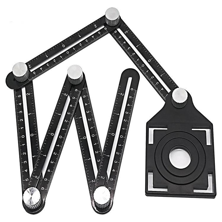 Slide Ruler Foldable Ruler Protractor Adjustable Angle Ruler Drill Guide Glass Tile Tool Woodworking Gauge Measuring Tool