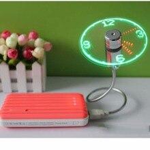 Mini-USB вентилятор гаджеты гибкое колено светодиодный часы Прохладный для портативных ПК Тетрадь время Дисплей Прочный Регулируемый мягкий свет Desktop