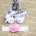 Bebé recién nacido bautismal zapatos, infantil del niño del bebé de la tela botines diadema set, pequeño bebé Walker primer zapato