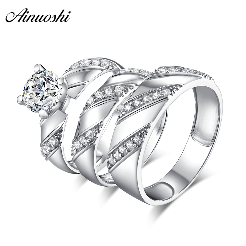 Ainuoshi 925 Sterling Silver Couple Wedding Engagement 4 Prongs