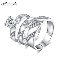 AINUOSHI 925 Sterling Silver Couple Wedding Engagement 4 Prongs Rings Set Round Cut Men Anniversary Lover Promise Ring Set Gifts