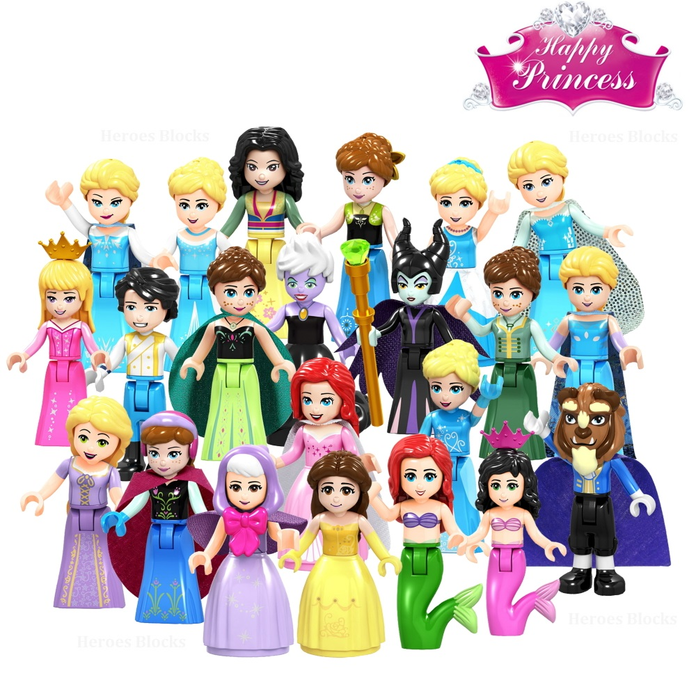 Snow White Fairy Tale Princess Girl Anna Elsa Beast Cinderella Maleficent Friends Building Blocks Toy Kid Gift Compatible Legoed