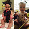 Con volantes de Los Mamelucos Del Bebé Baby Girl Trajes Set Kids Mono de Algodón Cereza Imprimió el Mameluco con arco diadema