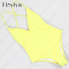 Floylyn New Arrival Candy Color Women One Piece Swimsuit Sexy Bandage Padded Brazilian Push Up Solid Red Color Hot Swimwear