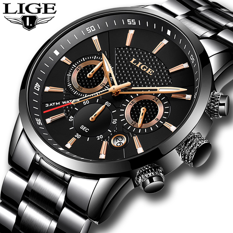 2018 LIGE Men's Watch Top Luxury Brand Business Quartz Watches Men Military Sports Waterproof Dress Wristwatch Relogio Masculino