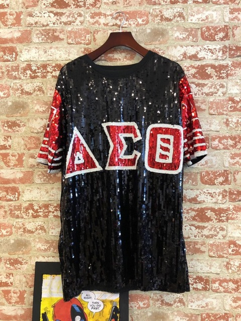 Sequin Long O Neck T shirt red Black Delta Sigma Theta DST Sorority Sequin T Shirt Clothing Party Club Top Loose Clothes