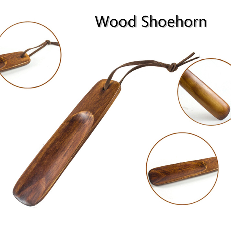 Wooden Shoehorn Shoe Horn Lifter Polished Handle Stick