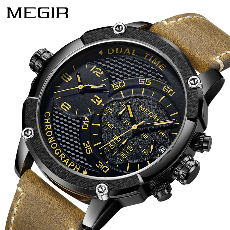 цена MEGIR Reloj Hombre 2018 Sport Quartz Watch Men Dual Time Zone Men Wristwatch Creative Leather Army Military Wristwatches Clock онлайн в 2017 году